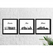 Kit 3 Quadros Decorativos Skyline de Londres Paris Dubai