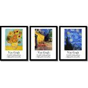 Kit 3 Quadros Pintor Van Gogh Girassol Terraço Do Café Noite Estrelada