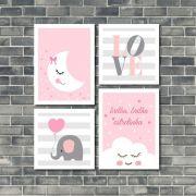 Kit 4 Quadros Decorativos Bebê Menina Nuvem Rosa