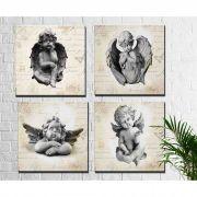 Kit 4 Quadros Decorativos Estátuas de Anjos m2