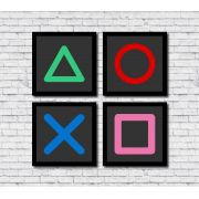 Kit 4 Quadros Decorativos Gamer Geek Teclas Playstation