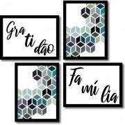 Kit 4 Quadros Decorativos Geométrico Azul e Frases