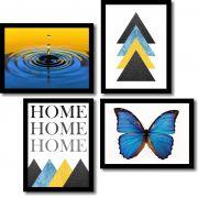 Kit 4 Quadros Decorativos Geométrico Triângulos Azul e Amarelo