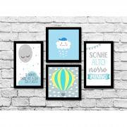 Kit 4 Quadros Decorativos Infantil Nuvens Azul Personalizado