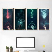 Kit 4 Quadros Decorativos Varinhas Harry Potter