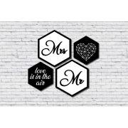 Kit 4 Quadros Hexagonais Casal Amor Preto e Branco