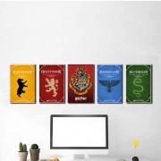 Kit 5 Placas Decorativas Casas Harry Potter