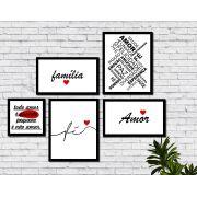 Kit 5 Quadros Decorativos Família Amor Fé Frases