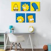 Kit 5 Quadros Decorativos Família Os Simpsons