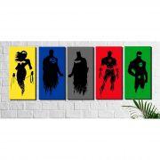 Kit 5 Quadros Decorativos Heróis Sombras Coloridas