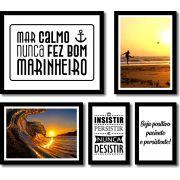 Kit 5 Quadros Decorativos Paisagem Praia e Frases