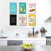 Kit 6 Placas Decorativas Frases Comida