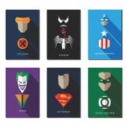 Kit 6 Placas Decorativas Herói e Vilão