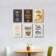 Kit 6 Placas Decorativas  Hora do Café