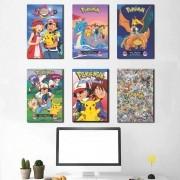 Kit 6 Placas Decorativas Pokémon