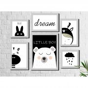 Kit 6 Quadros Decorativos Infantil Urso Cinza e Branco