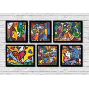 Kit 6 quadros decorativos Romero Britto