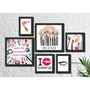 Kit 6 Quadros Decorativos Salão de Beleza Maquiagem Rosa