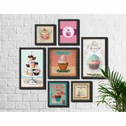 Kit 7 Quadros Decorativos Cupcake Vintage