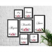 Kit 7 Quadros Decorativos Família Amor Alegria