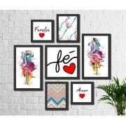 Kit 7 Quadros Decorativos Flamingo Frases Família Fé Amor