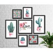Kit 7 Quadros Decorativos Flor De Cactos No Vaso Love