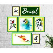 Kit 7 Quadros Decorativos Futebol Brasil copa colorido