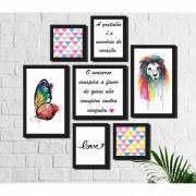 Kit 7 Quadros Decorativos Leão e Borboleta Coloridos Frases