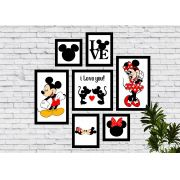 Kit 7 Quadros Decorativos Mickey e Minnie Love