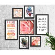 Kit 7 Quadros Decorativos Rosa Frases e Penas