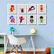 Kit 8 Quadros Decorativos Super Heróis Baby para quarto de criança
