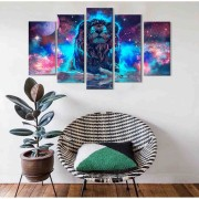 Kit Quadro Decorativo Leão Galaxia