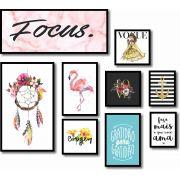 Kit Quadros Decorativos focus flamingo  9 peças