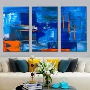 Kit Quadros Decorativos Abstrato Azul Escuro