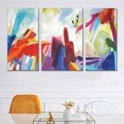 Kit Quadros Decorativos Abstrato Colorido Para Sala
