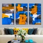 Kit Quadros Decorativos Abstrato Geométrico Azul e Amarelo