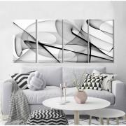 Kit Quadros Decorativos Abstrato Linhas Preto
