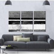 Kit Quadros Decorativos Abstrato Monocromático preto