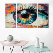 Kit Quadros Decorativos Abstrato Olhar Colorido