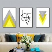 Kit Quadros Decorativos Amarelo Love Geométrico