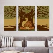 Kit Quadros Decorativos  Árvore de Bodhi Buda