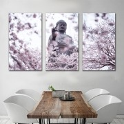 Kit Quadros Decorativos Buda Com Flores