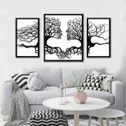 Kit Quadros Decorativos Casal Na Arvore Abstrato