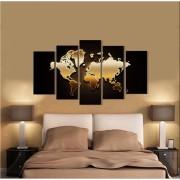 Kit Quadros Decorativos Dourado Mapa Do Mundo