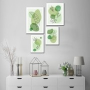 Kit Quadros Decorativos Flores Minimalistas Verdes