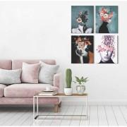 Kit Quadros Decorativos Flores Mulheres Floridas