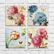 Kit Quadros Decorativos Flores Vintage 4 peças M10