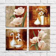 Kit Quadros Decorativos Flores Vintage 4 peças M12