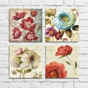 Kit Quadros Decorativos flores vintage 4 peças M2