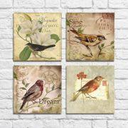Kit Quadros Decorativos Flores Vintage 4 peças M6